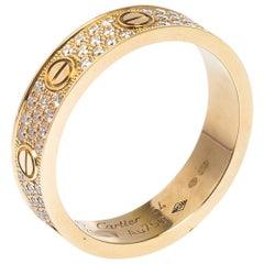 Cartier Love Diamond 18K Rose Gold Wedding Band Ring EU 54