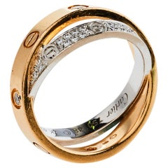 Cartier Love Diamond 18K Two Tone Gold Double Band Ring