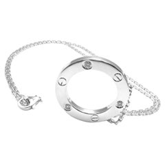 Cartier Love Diamond Circle Pendant White Gold Necklace