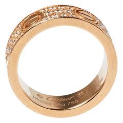 Cartier Love Diamond Paved 18K Rose Gold Ring Size 55