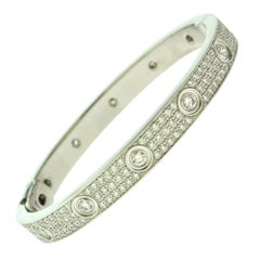 Cartier Love Diamond-Paved 18 Karat White Gold Bangle Bracelet