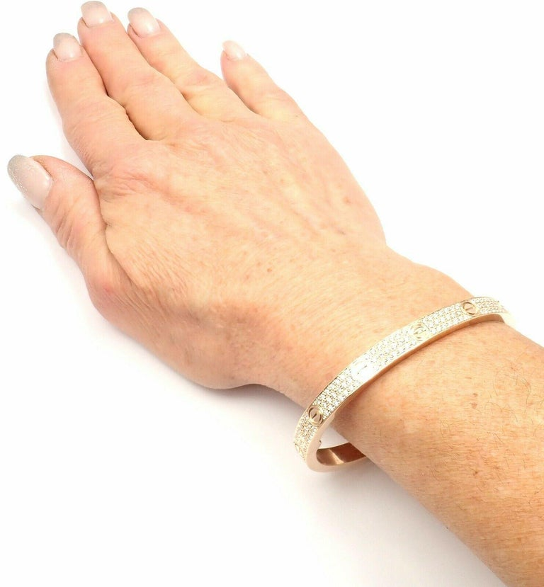 Cartier Love Diamond Paved Rose Gold Bangle Bracelet For Sale 5