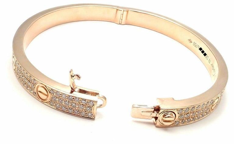 Cartier Love Diamond Paved Rose Gold Bangle Bracelet For Sale 6