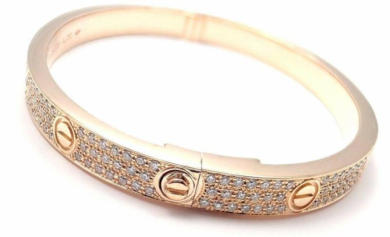 Brilliant Cut Cartier Love Diamond Paved Rose Gold Bangle Bracelet For Sale