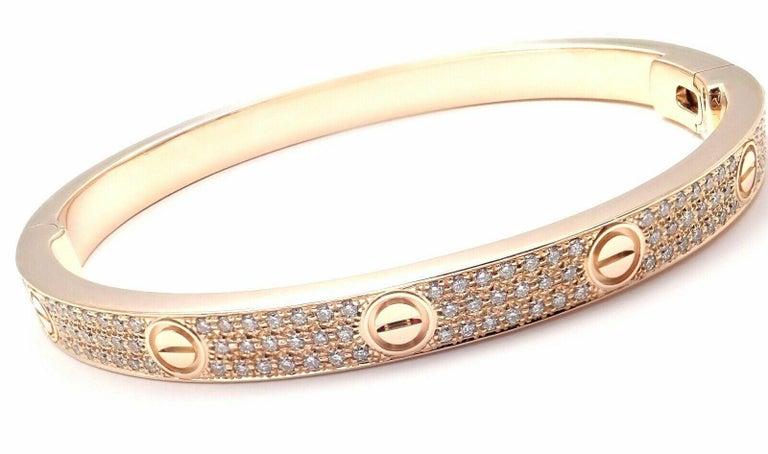 Women's or Men's Cartier Love Diamond Paved Rose Gold Bangle Bracelet For Sale