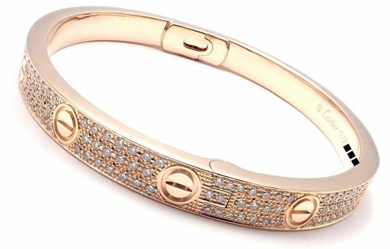 Cartier Love Diamond Paved Rose Gold Bangle Bracelet For Sale 1