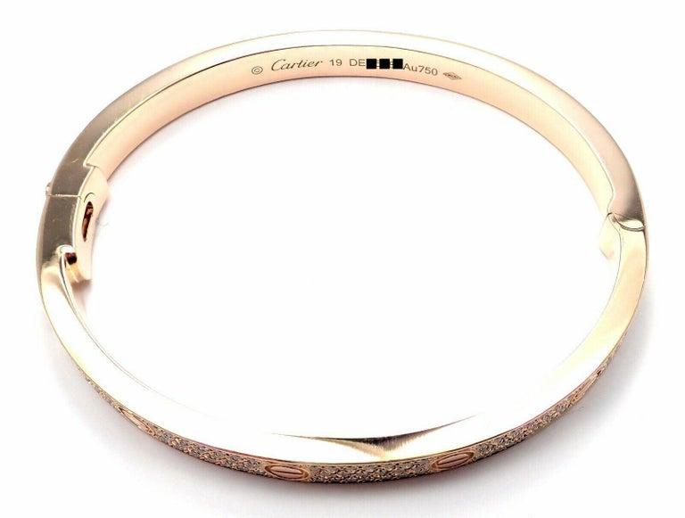 Cartier Love Diamond Paved Rose Gold Bangle Bracelet For Sale 2