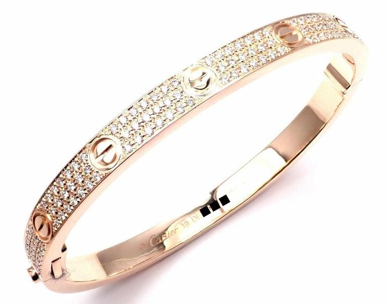 Cartier Love Diamond Paved Rose Gold Bangle Bracelet For Sale 3