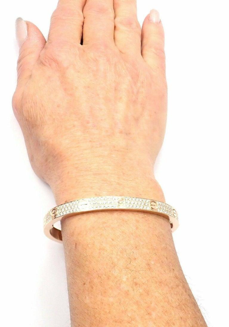 Cartier Love Diamond Paved Rose Gold Bangle Bracelet For Sale 4