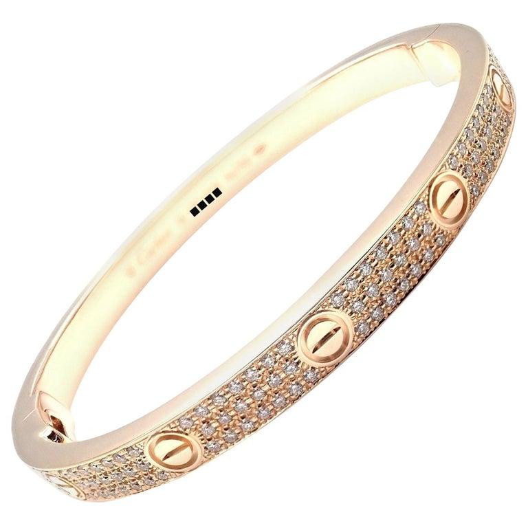 Cartier Love Diamond Paved Rose Gold Bangle Bracelet For Sale