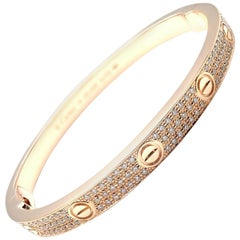 Cartier Love Diamond Paved Rose Gold Bangle Bracelet