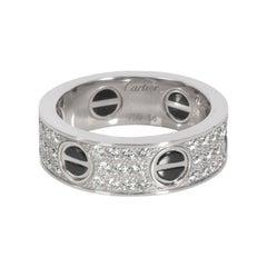 Cartier Love Diamond Ring in 18k White Gold & Black Ceramic 0.74 CTW