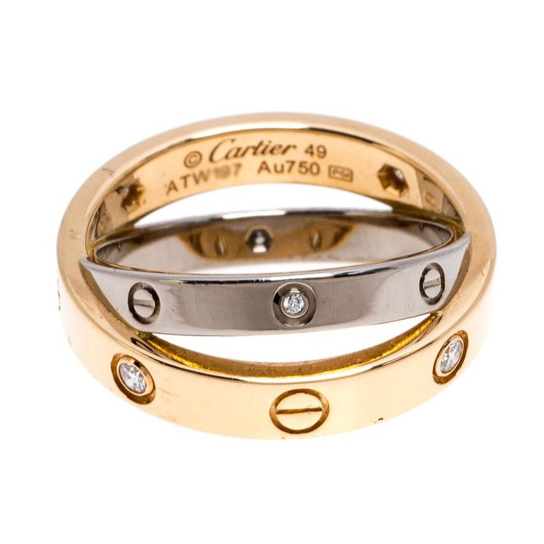 One of the most iconic and loved designs from the house of Cartier, the stunning Love ring is an icon of style and luxury. This is an updated version that arrives in two bands- one in 18k white gold and the other in 18k yellow gold. The rings