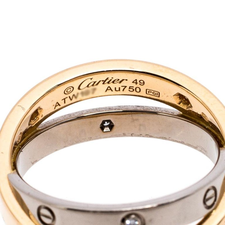 Contemporary Cartier Love Diamond Two Tone 18K Gold Double Band Ring Size 49 For Sale