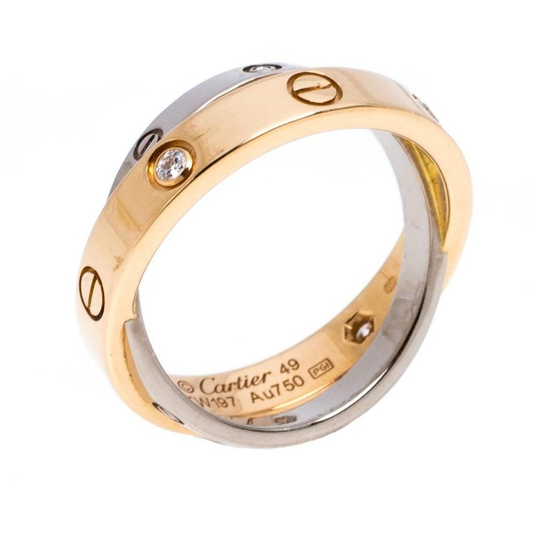 Cartier Love Diamond Two Tone 18K Gold Double Band Ring Size 49 For Sale 1