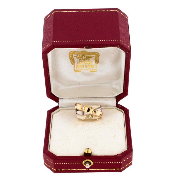 Cartier Love Diamond Two Tone 18K Gold Double Band Ring Size 49 For Sale 2