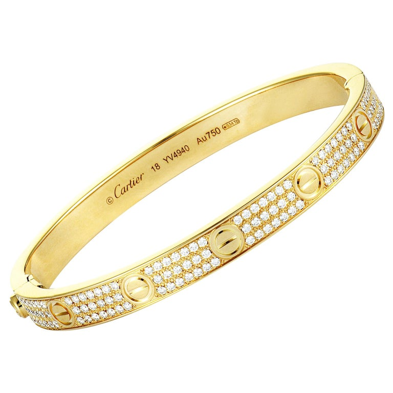Cartier Love Diamond Yellow Gold Bangle Bracelet For Sale