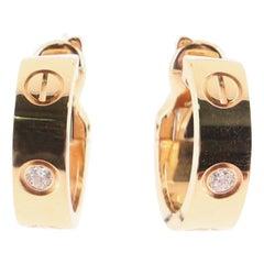 Cartier Love Hoop Earrings 18 Karat Rose Gold with Diamonds