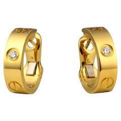 Cartier Love Hoop Earrings Two Diamonds in 18k Yellow Gold