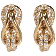 Cartier Love Knot Diamond Earrings in 18 Karat Yellow Gold 0.42 Carat