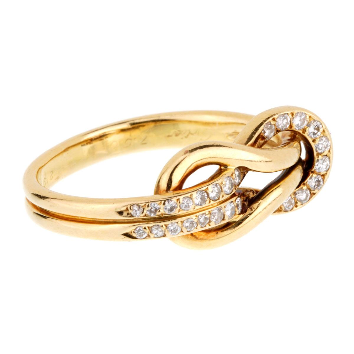 Cartier Love Knot Diamond Gold Ring At 1stdibs