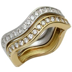 Cartier Love Me Diamond White and Yellow Gold Stackable Rings, Pair