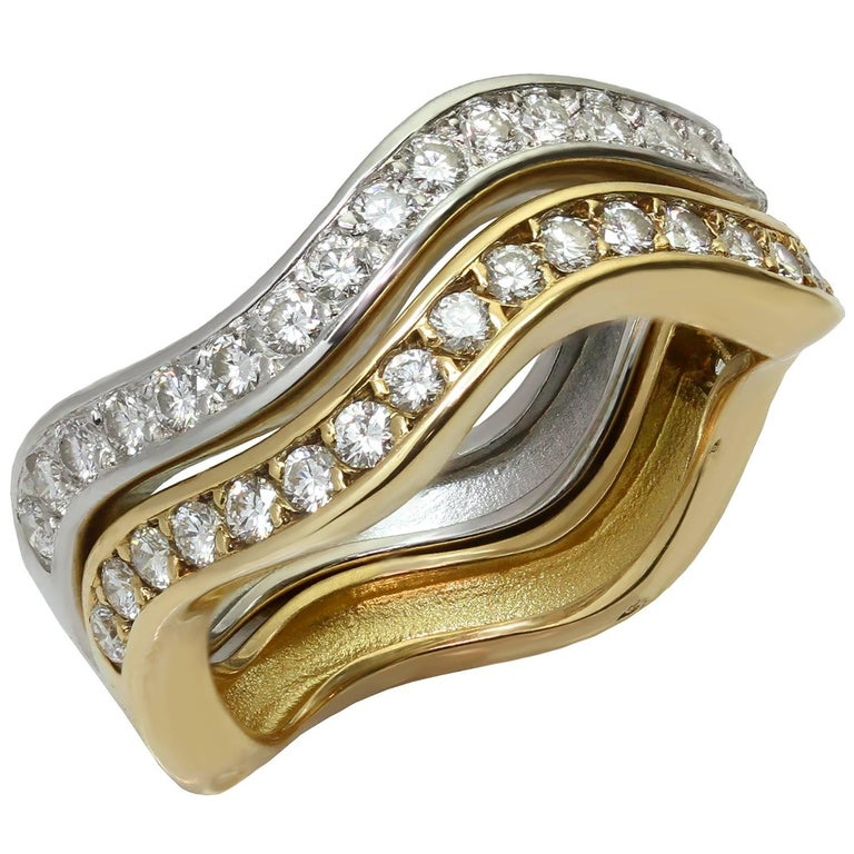 Cartier Love Me Diamond White and Yellow Gold Stackable Rings, Pair ...