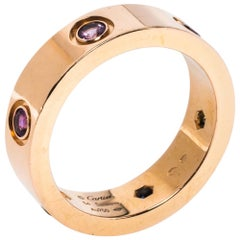 Cartier LOVE Multicolor Gemstone 18K Rose Gold Ring 54