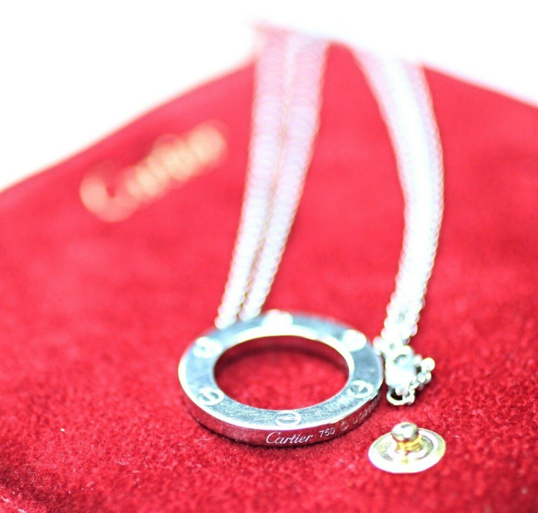 Cartier Love Necklace Collection 18 Karat White Gold Rolo Chain, Circle Pendant In Excellent Condition For Sale In Los Angeles, CA