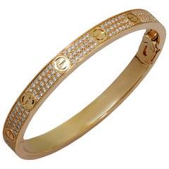 Cartier Love Pave Diamond Rose Gold Bangle Bracelet.Sz 18