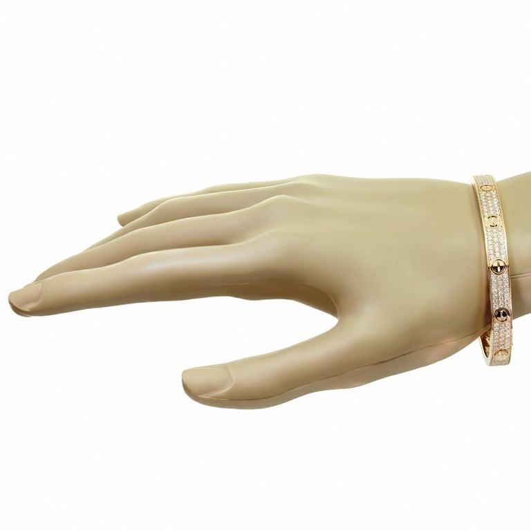 Women's Cartier Love Pave Diamond Rose Gold Bangle Bracelet.Sz 18