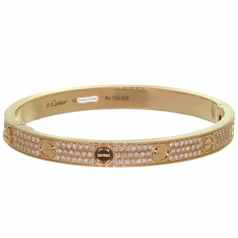 Cartier Love Pave Diamond Rose Gold Bangle Bracelet.Sz 18 1