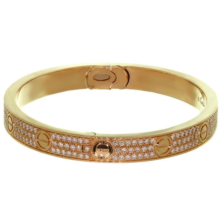 Cartier Love Pave Diamond Rose Gold Bangle Bracelet.Sz 18 2
