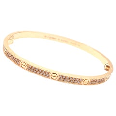 Cartier Love Pave Diamond Small Model Rose Gold Bangle Bracelet