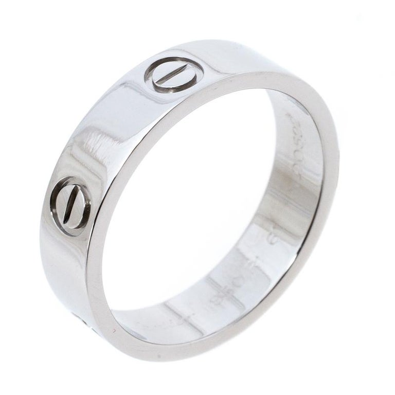 Contemporary Cartier Love Platinum Band Ring Size 61 For Sale