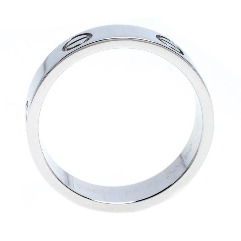 Cartier Love Platinum Band Ring Size 61 In Good Condition For Sale In Dubai, Al Qouz 2