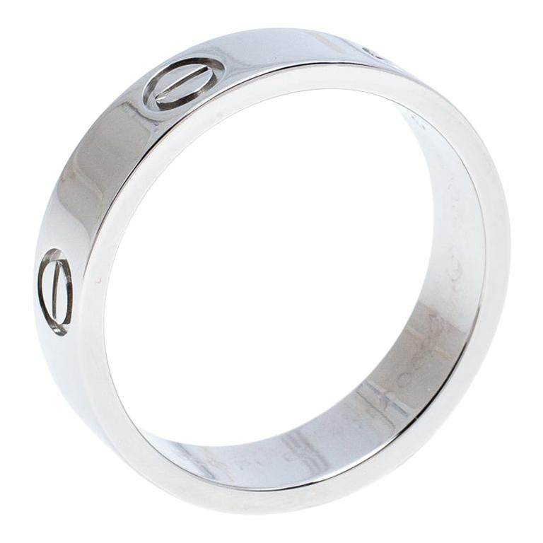 Cartier Love Platinum Band Ring Size 61 For Sale