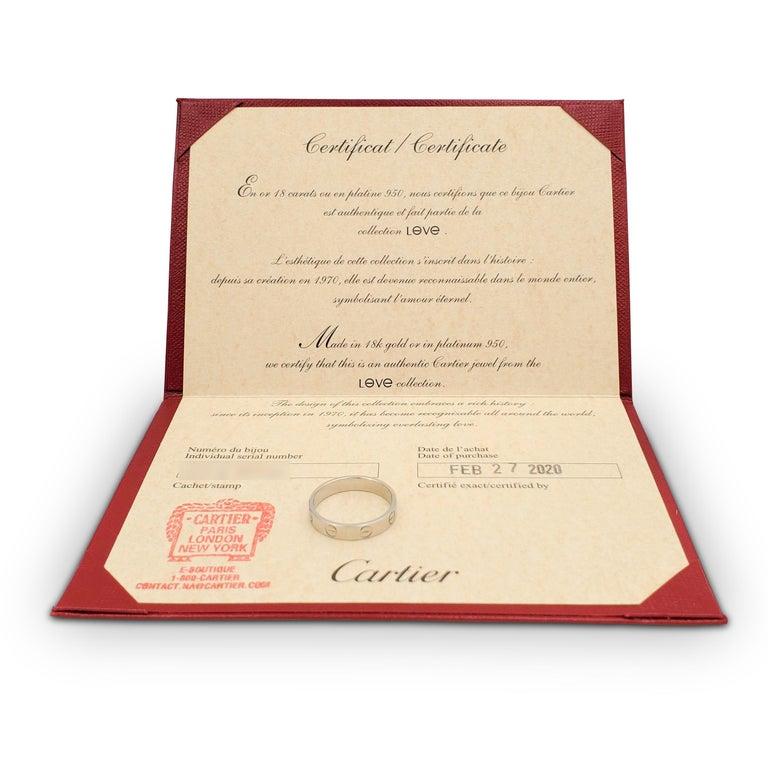 Women's or Men's Cartier 'Love' Platinum Wedding Band For Sale