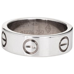 Cartier Love Ring 18 Karat White Gold Signed Ring circa 1996 Box