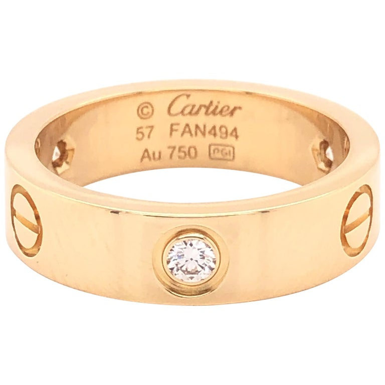 Cartier Love Ring 3 Diamond Yellow Gold For Sale