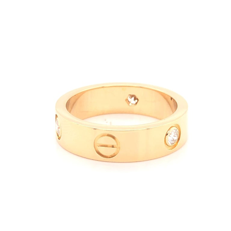 Modern Cartier Love Ring 3 Diamond Yellow Gold For Sale
