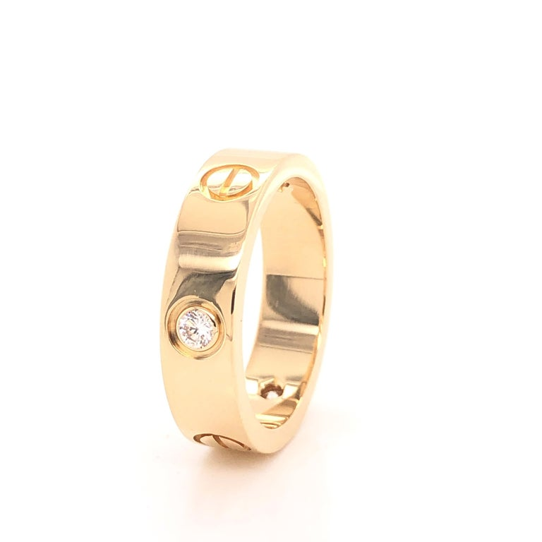Round Cut Cartier Love Ring 3 Diamond Yellow Gold For Sale