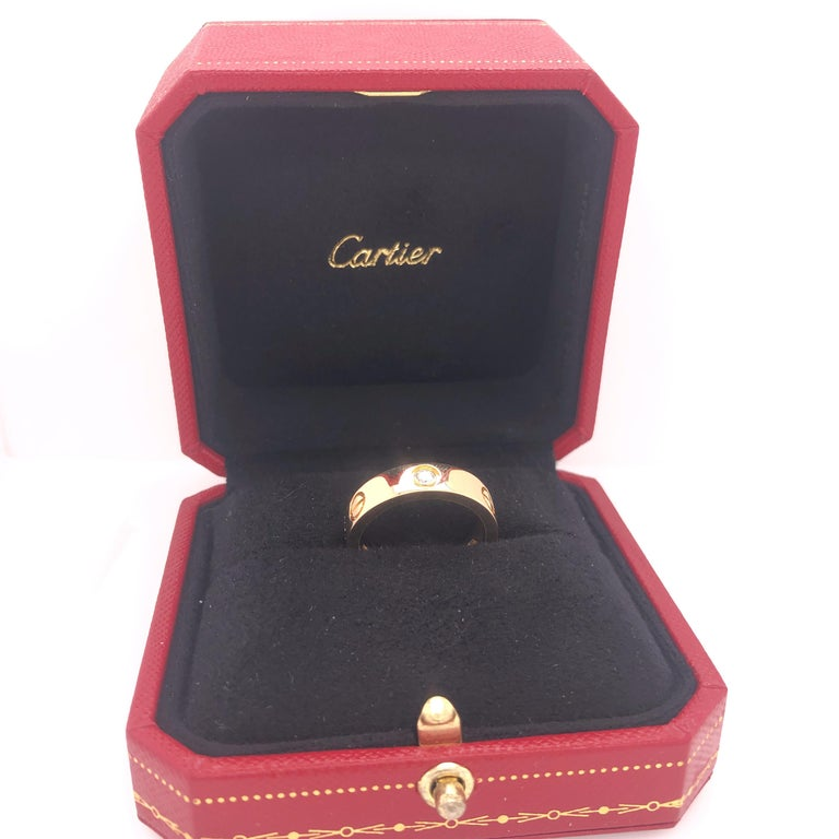 Cartier Love Ring 3 Diamond Yellow Gold In Excellent Condition For Sale In MIAMI, FL