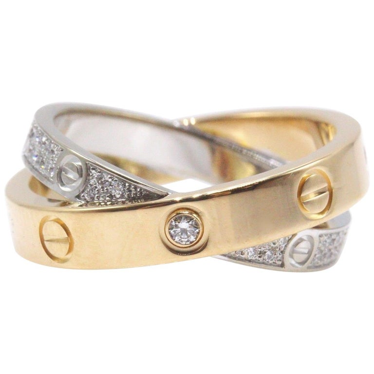 b810edeeeb5e8 Cartier Love Ring Diamond Paved Pink and White Gold Full Set COA Box Receipt
