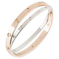 Cartier Love Rose and White Gold Double Diamond Bracelet N6039116
