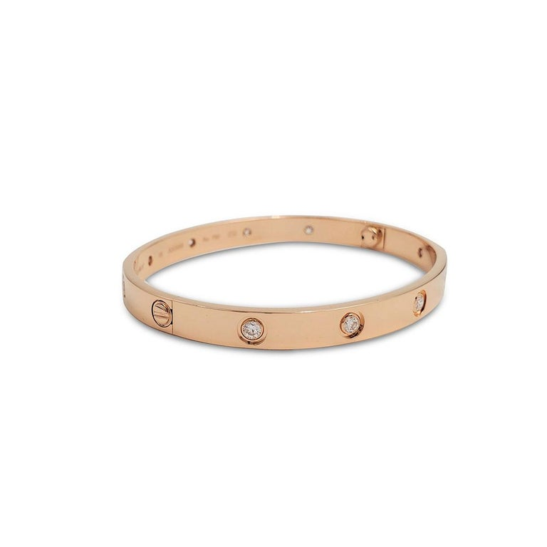 Round Cut Cartier 'Love' Rose Gold 10-Diamond Bracelet For Sale