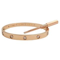 Cartier 'Love' Rose Gold 10-Diamond Bracelet