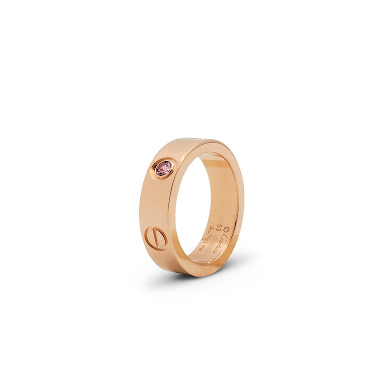 Round Cut Cartier 'Love' Rose Gold and Pink Sapphire Ring For Sale