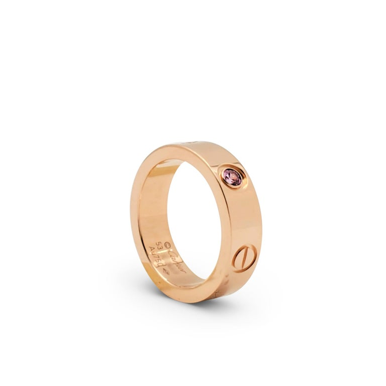 Cartier 'Love' Rose Gold and Pink Sapphire Ring In Excellent Condition For Sale In New York, NY