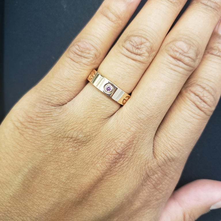 Cartier 'Love' Rose Gold and Pink Sapphire Ring For Sale 3